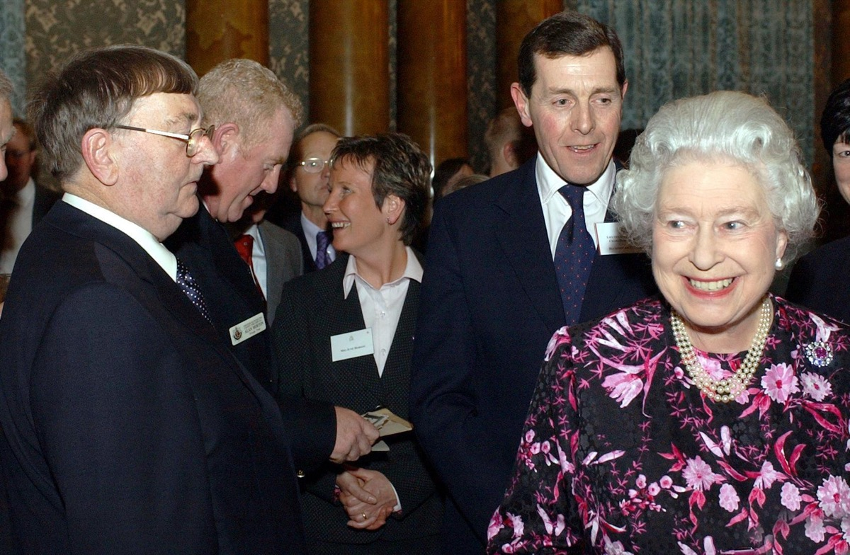 Queen Elizabeth at a Christmas party