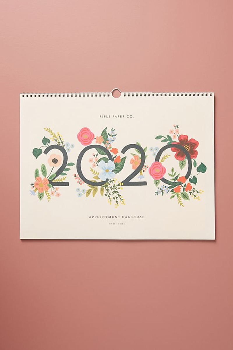 rifle paper co wild rose 2020 wild appointment calendar on pink background