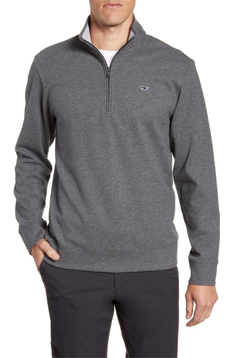 man in gray saltwater quarter zip pullover