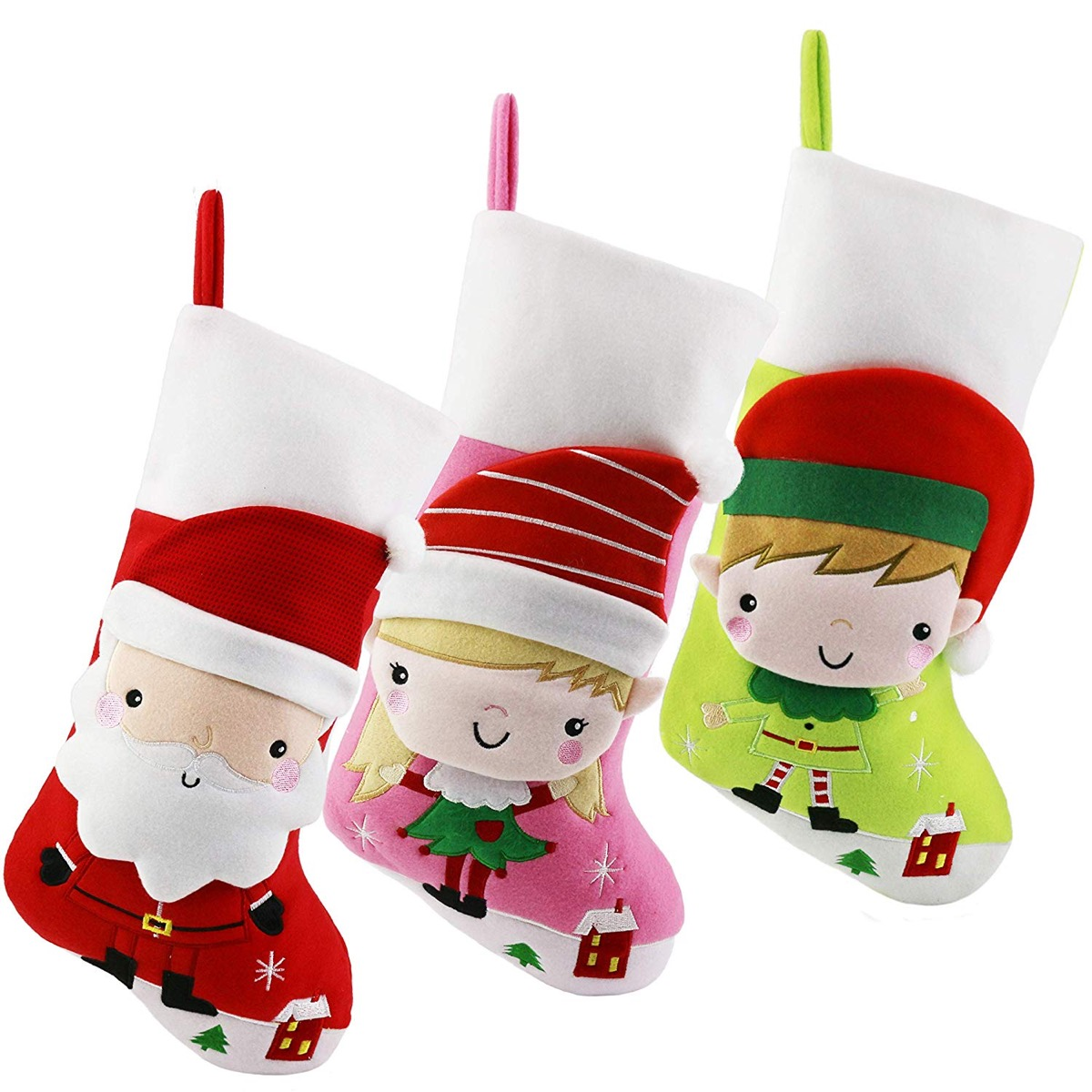 white stockings with santa and cartoon elves on them