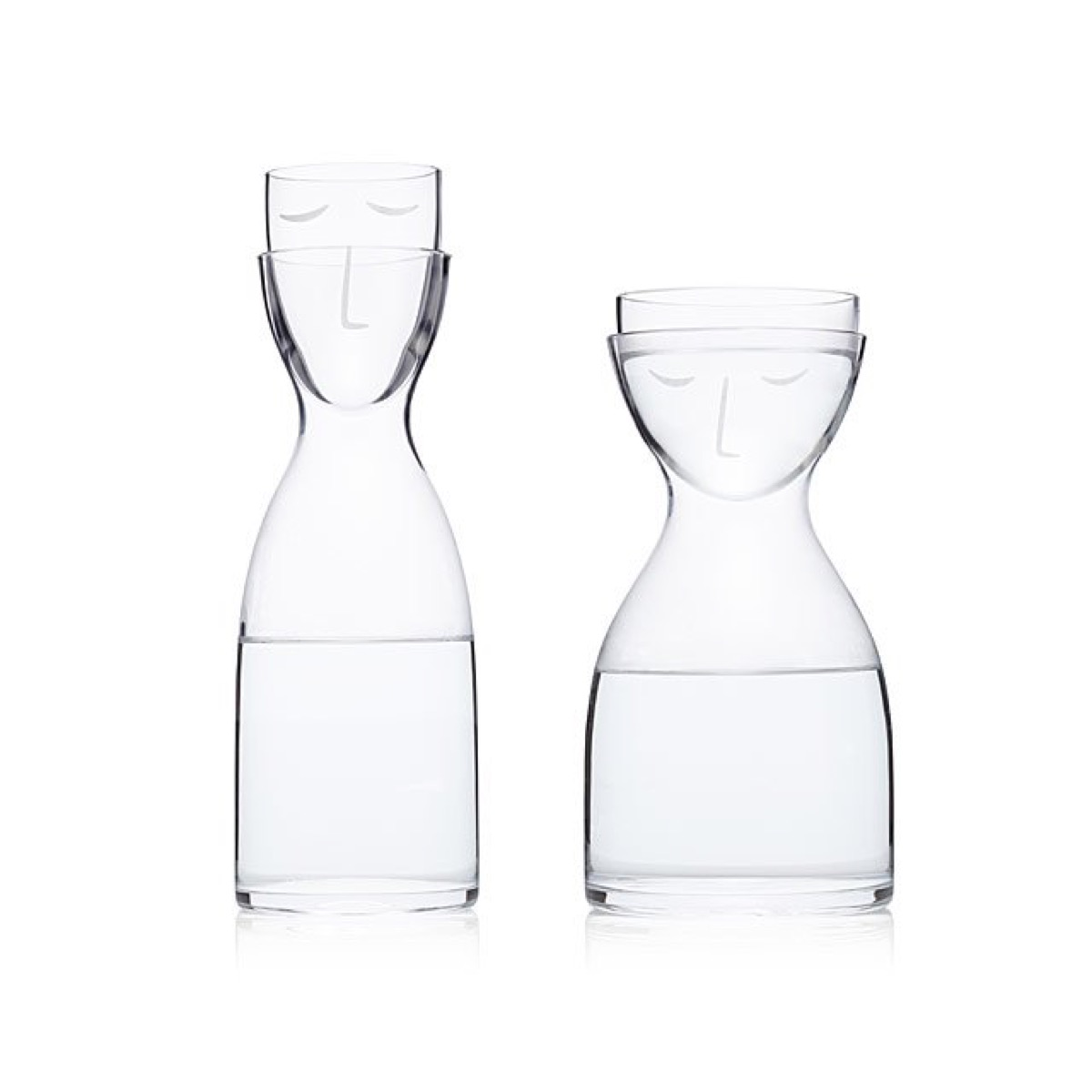sleepy head bedside carafe set with faces on them