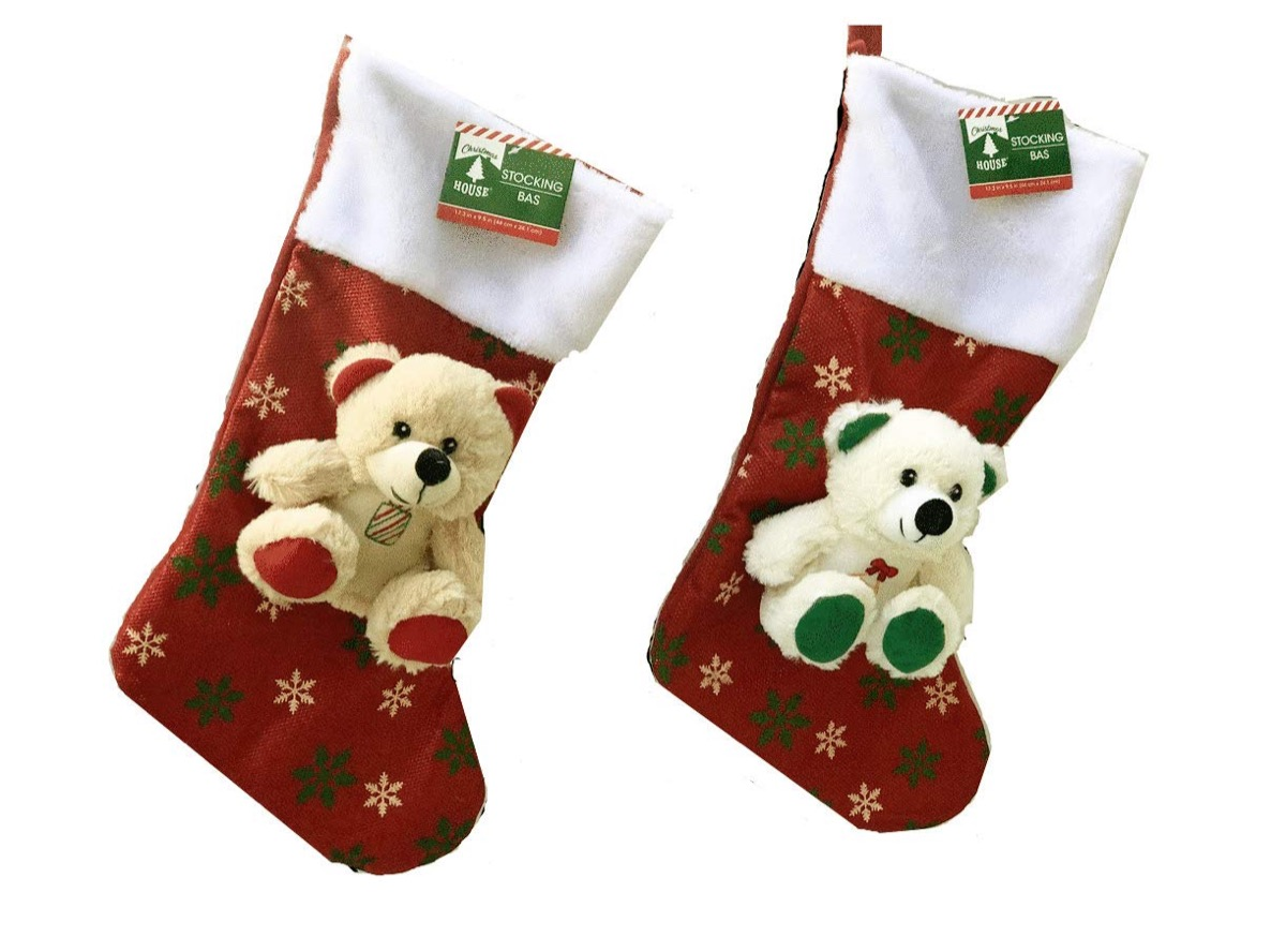 red stockings with teddy bears on them