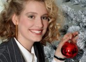 1980s Teenager decorating christmas tree