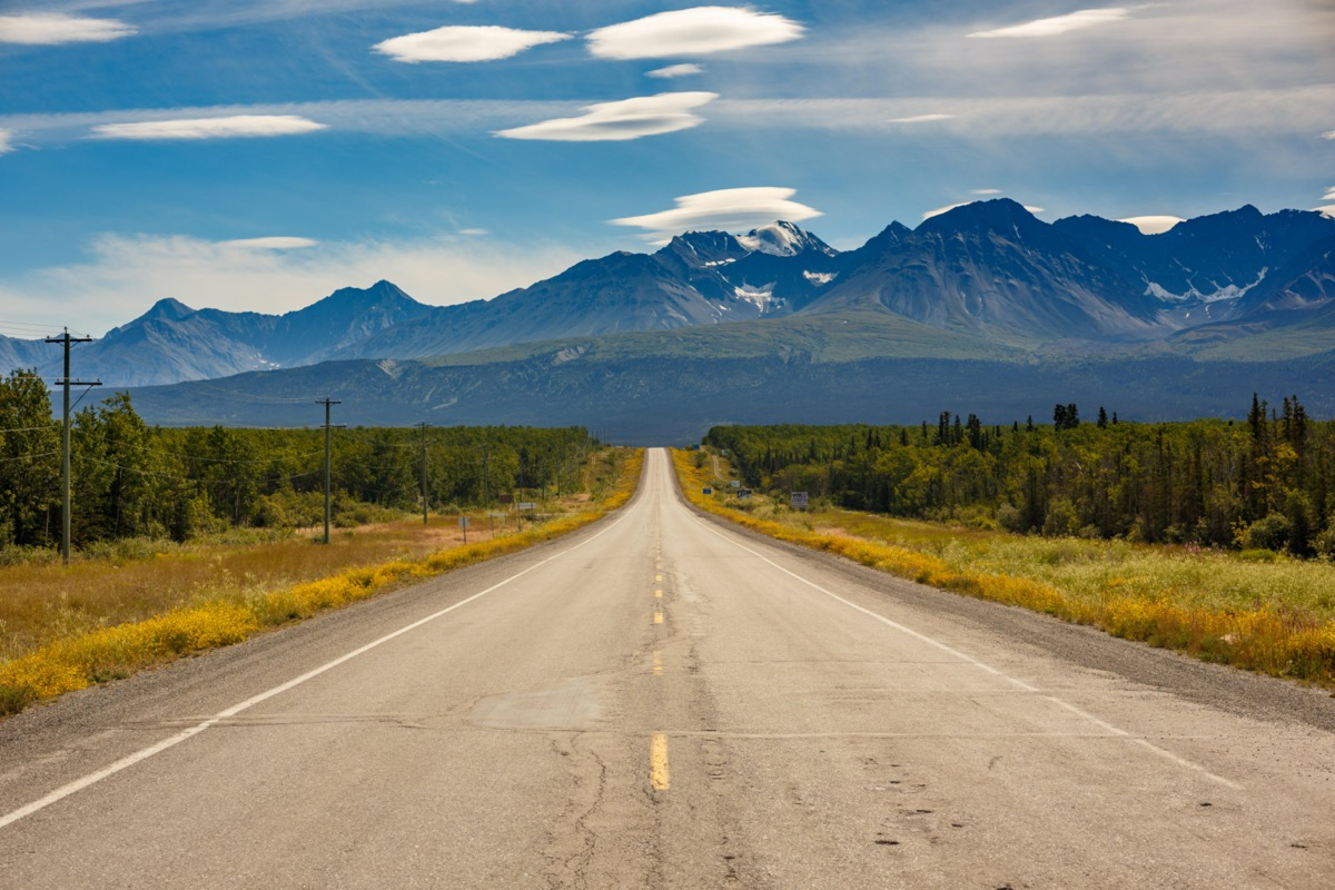a road leads into a mountain range in Alaska in the summer