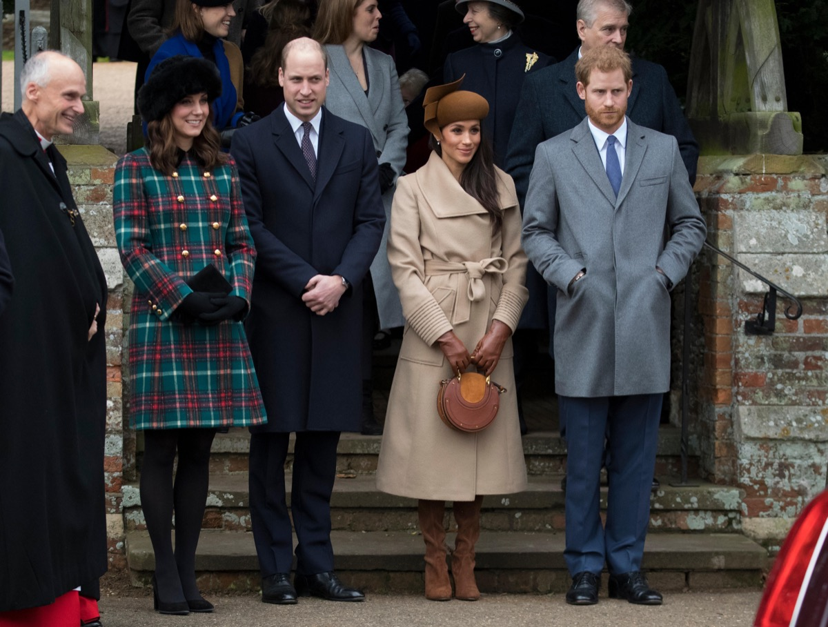 Britain's Queen Elizabeth leads the British royal family as they attend a Christmas service at St Mary Magdalene church on the Sandringham Estate in Norfolk.