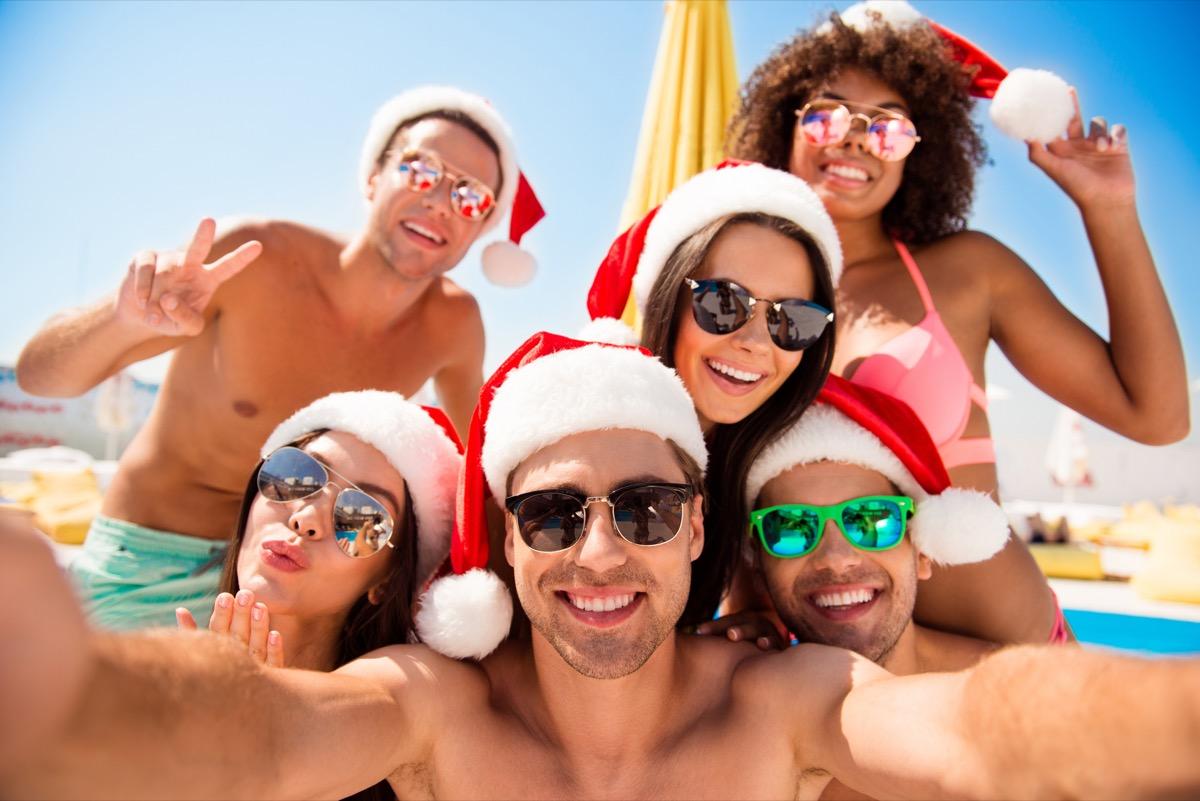 vacation selfie with santa hats