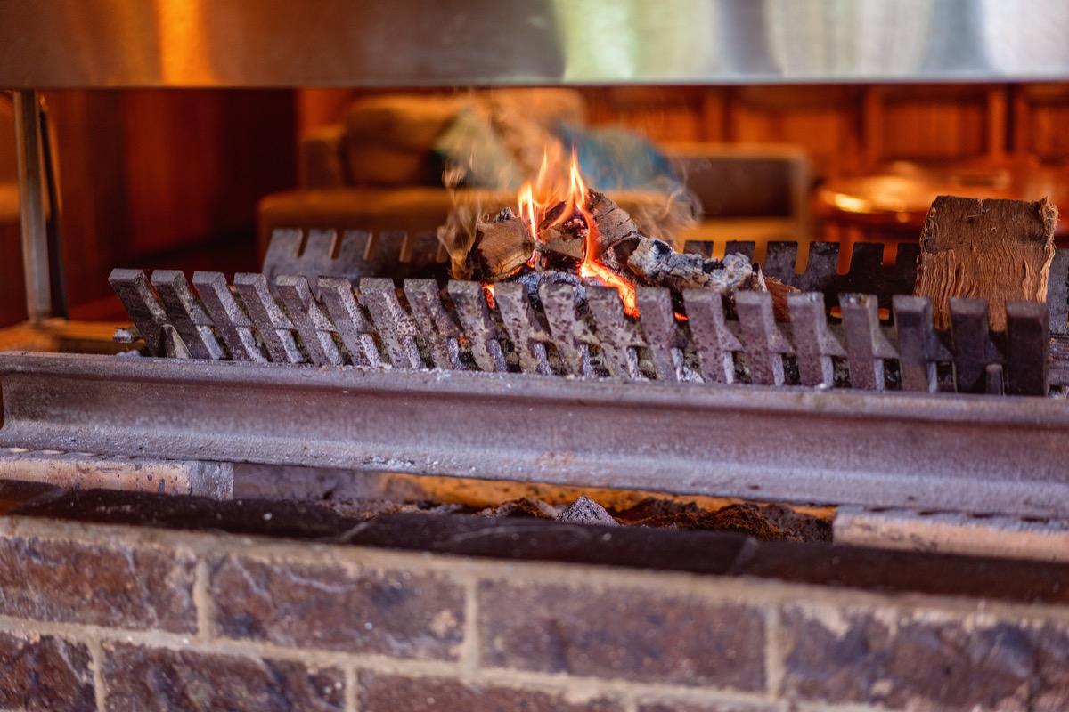 log in wood burning fireplace