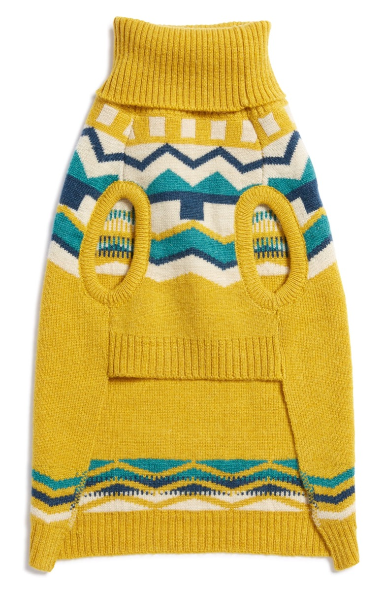 yellow green and white dog sweater