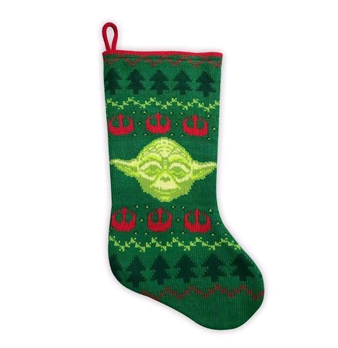 green and red knit yoda stocking