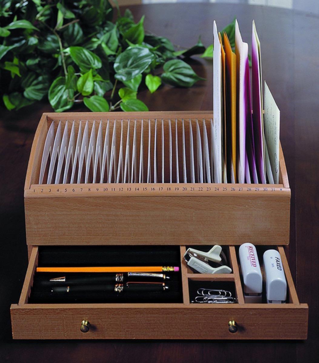 wooden bill and trinket organizer