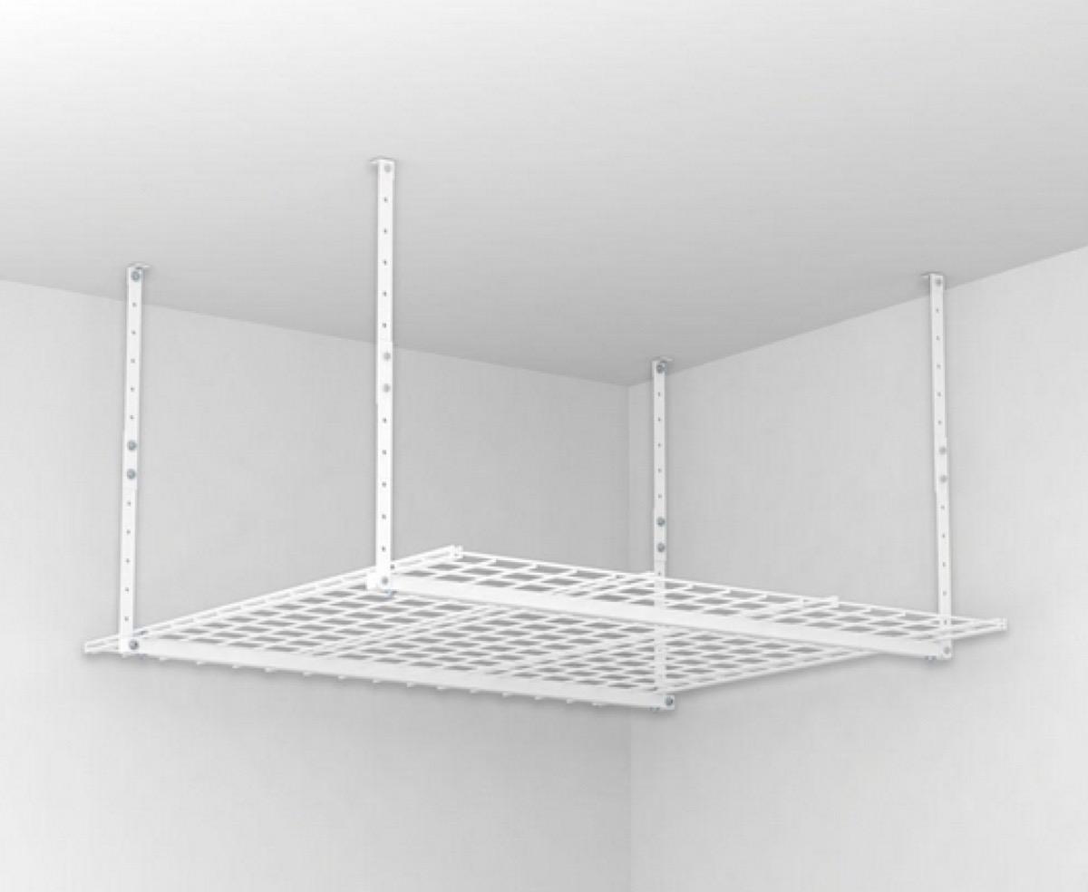 white ceiling storage rack