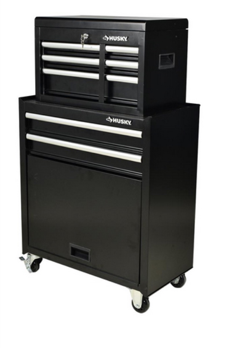 black metal tool chest