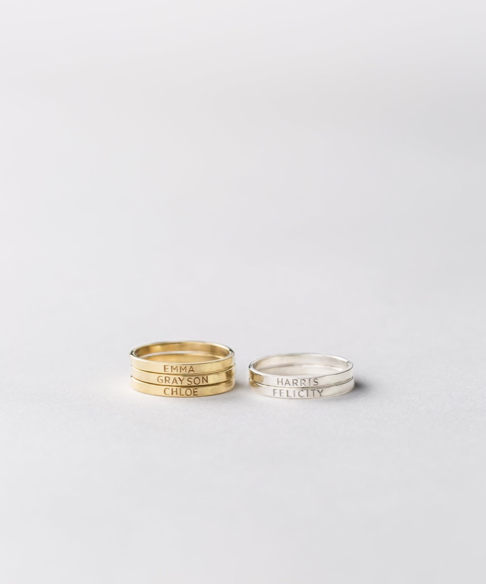 Gold and silver name rings