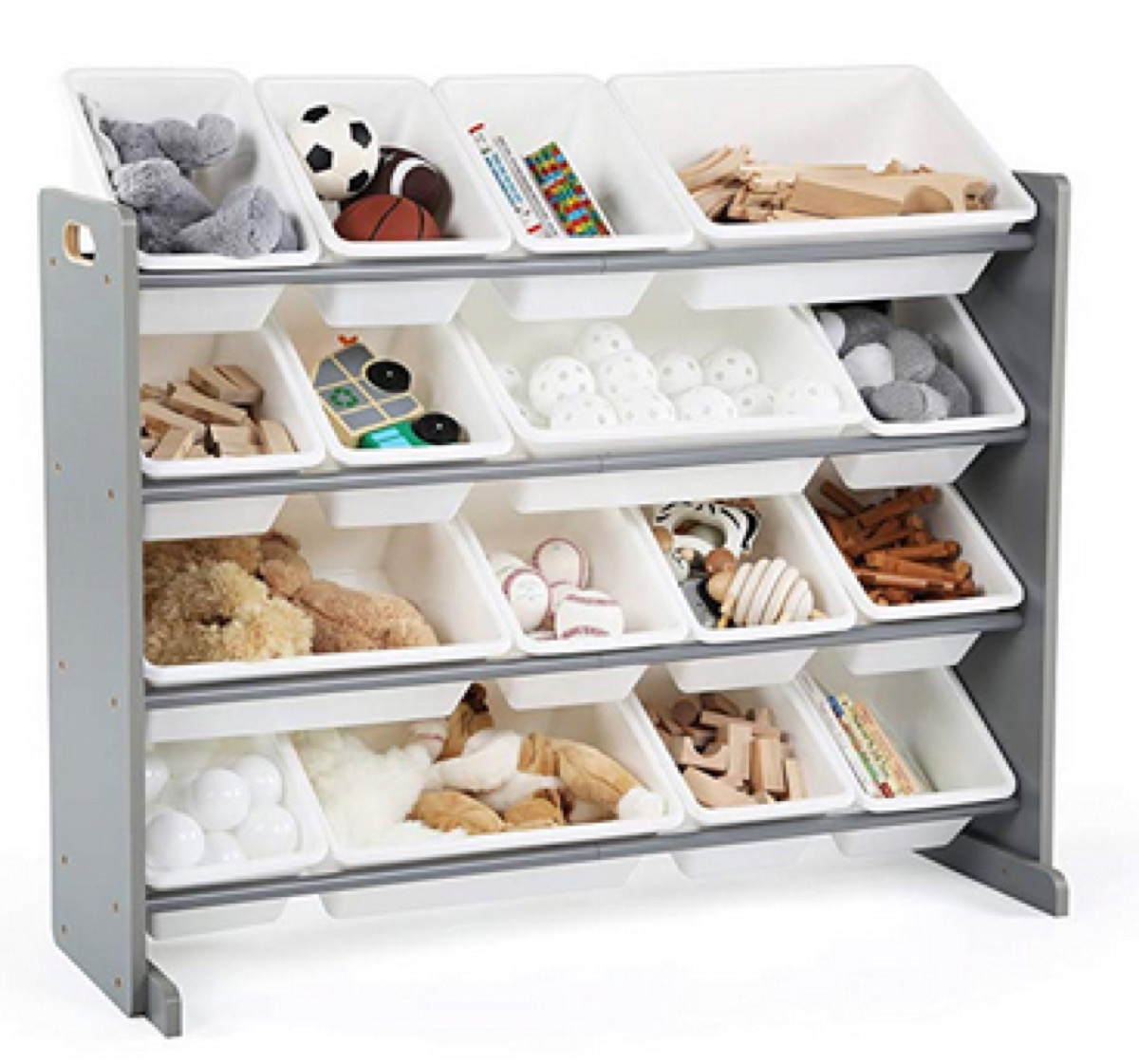 storage rack with white bins
