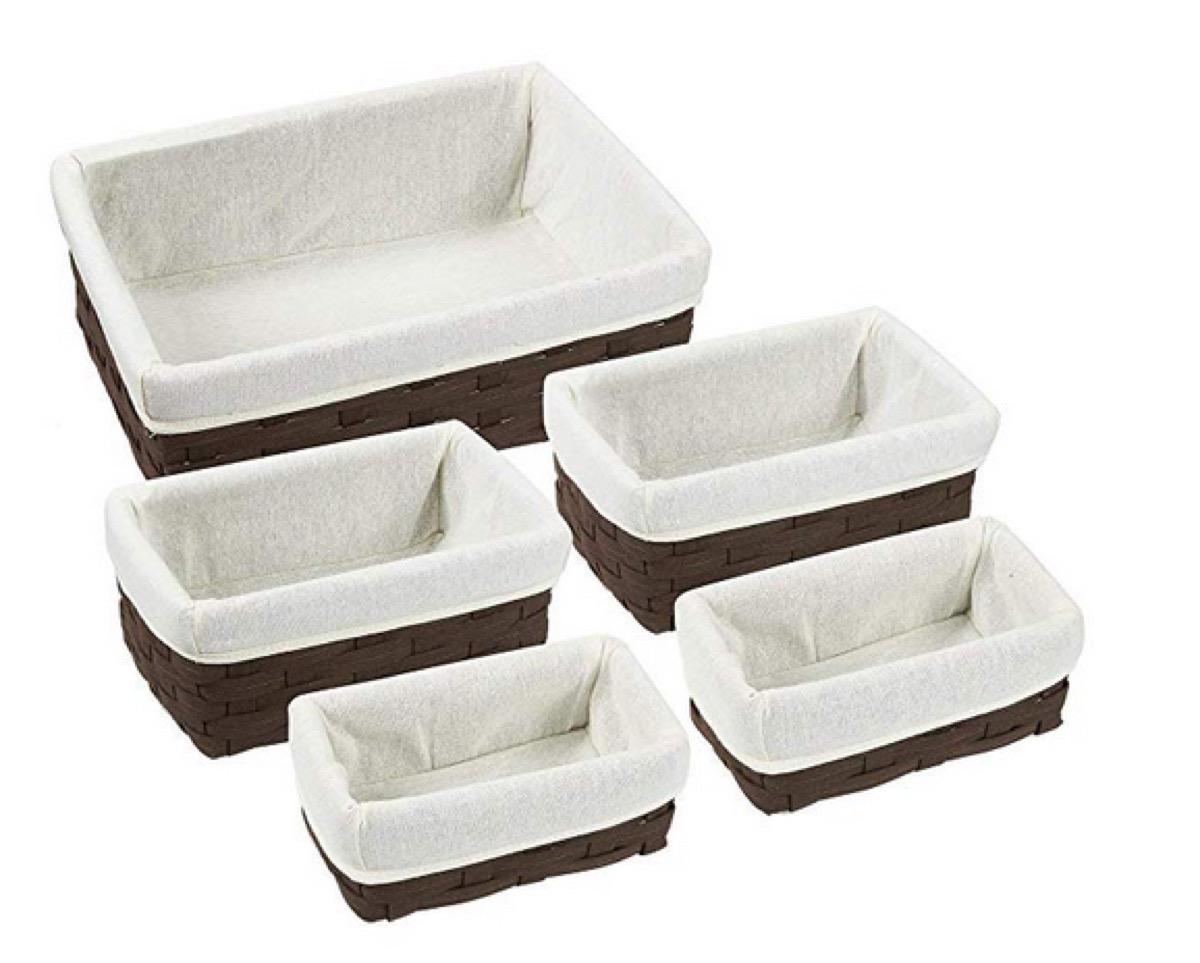 linen lined wicker baskets