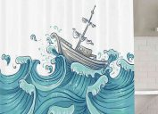 waves and ship shower curtain