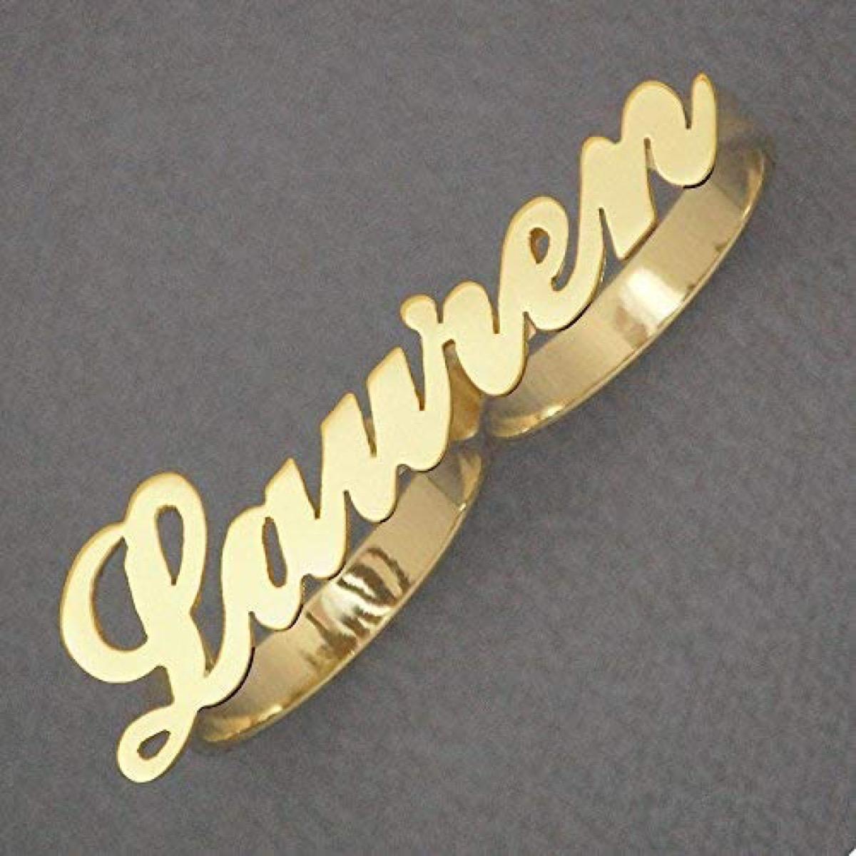 """Gold two finger ring """"Lauren"""""""