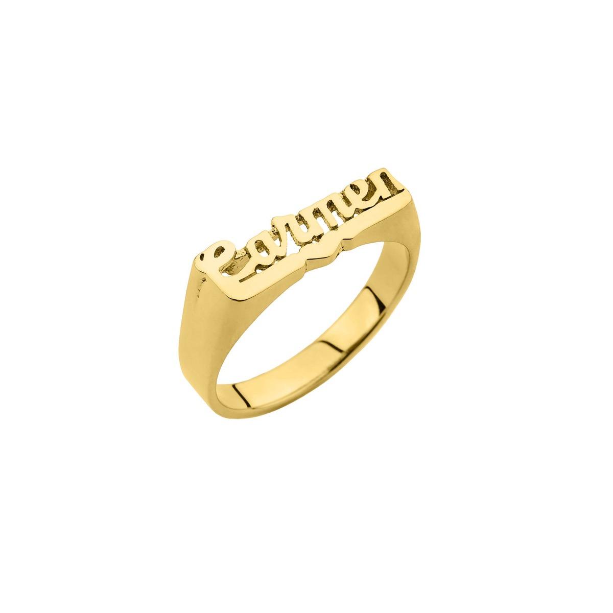 """gold nameplate ring """"Carmen"""""""