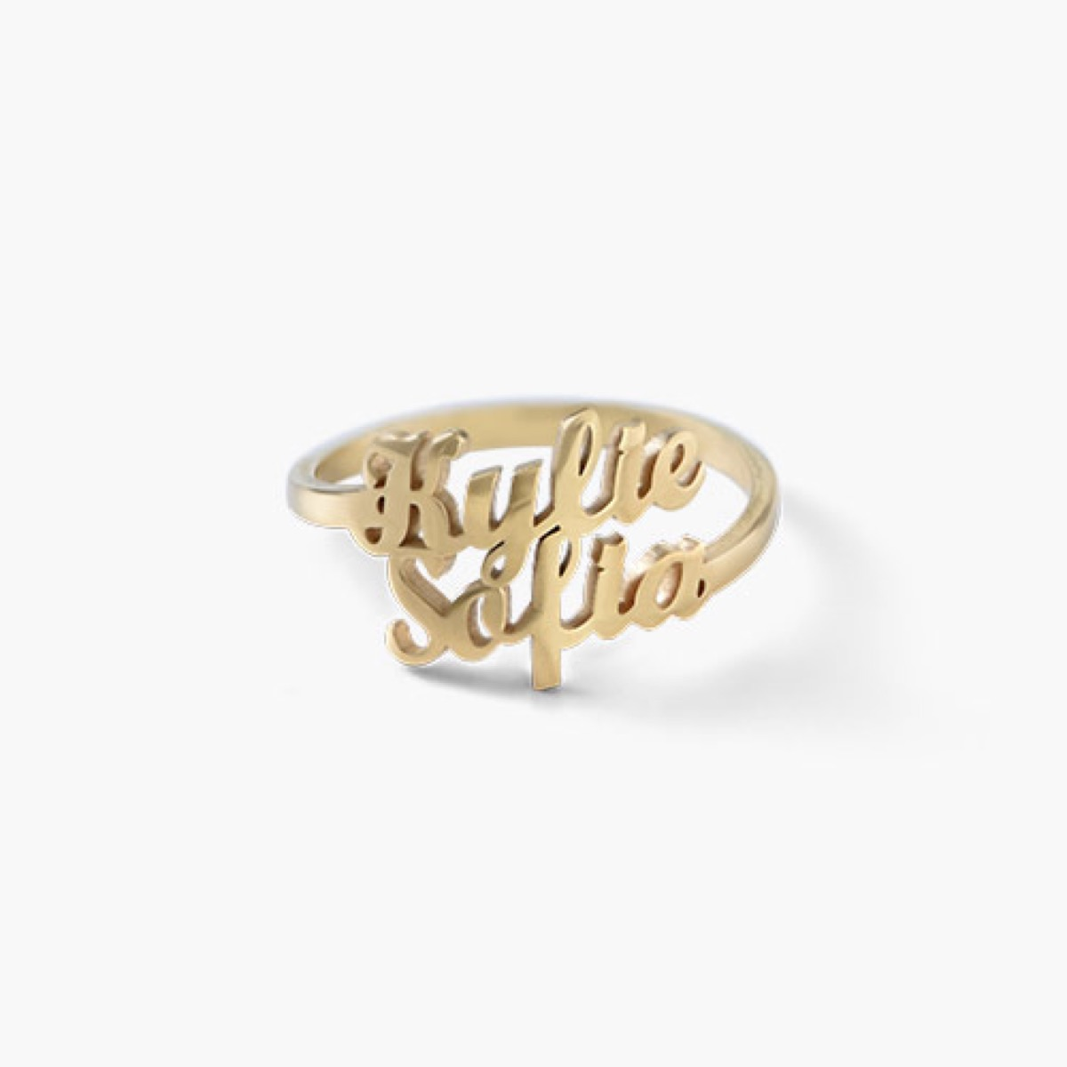 Gold two-name ring white background