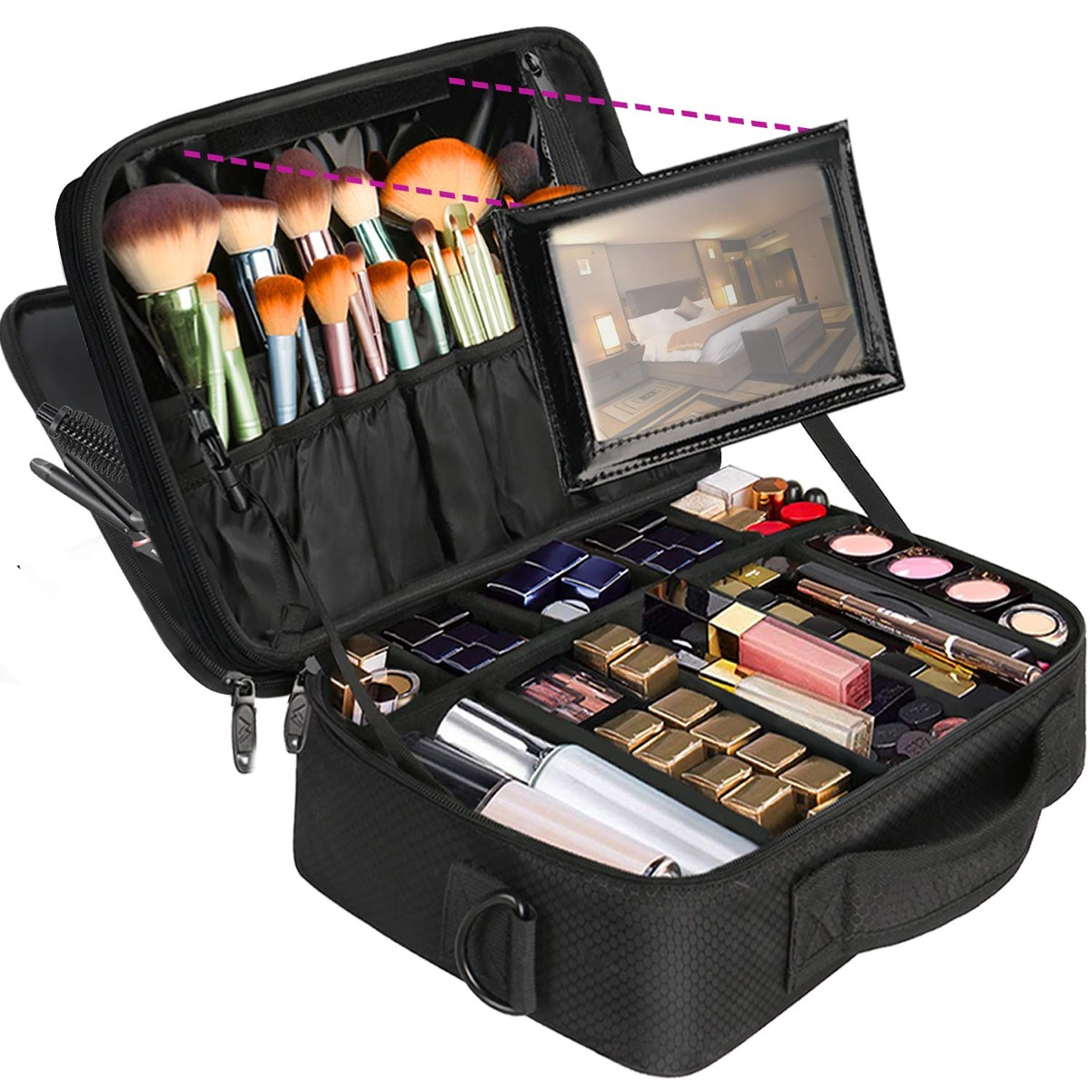 Black makeup kit full of products