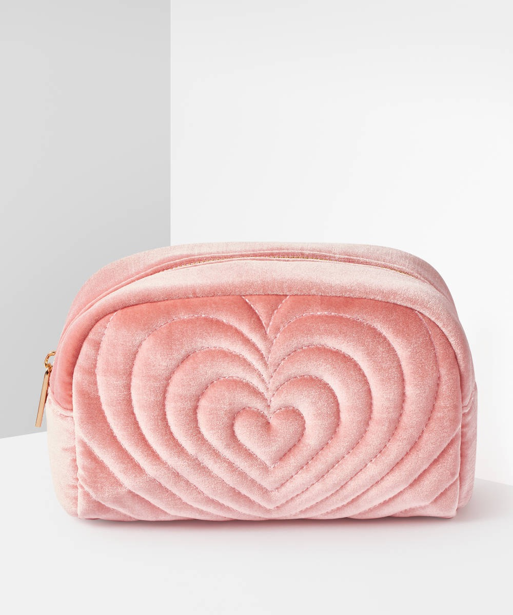 Embroidered pink heart bag