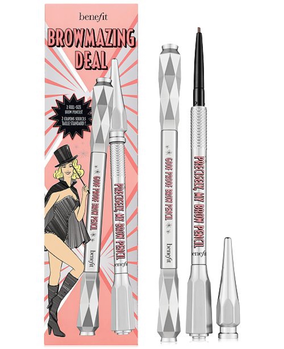 Eyebrow duo with campy packaging