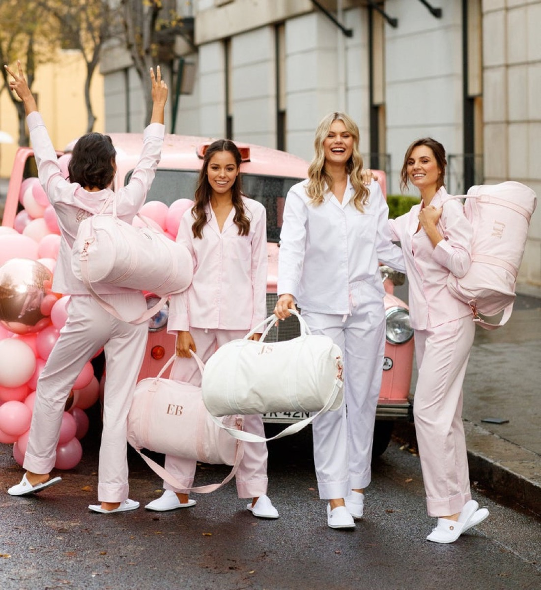 Bridal party with duffle bags