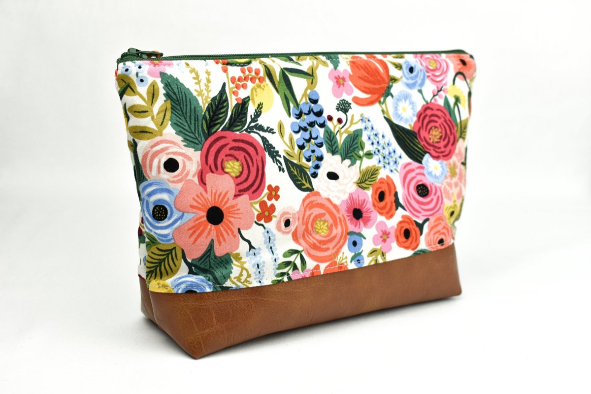 Floral and leather makeup case