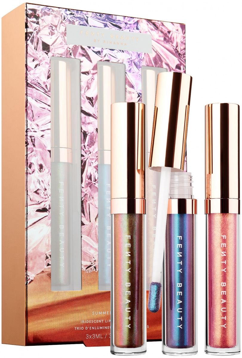three lip glosses with packaging