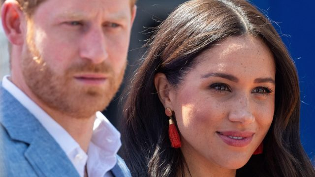Prince Harry and Meghan Markle, the Duke and Duchess of Sussex depart after a visit to the Tembisa township in Johannesburg in 2019