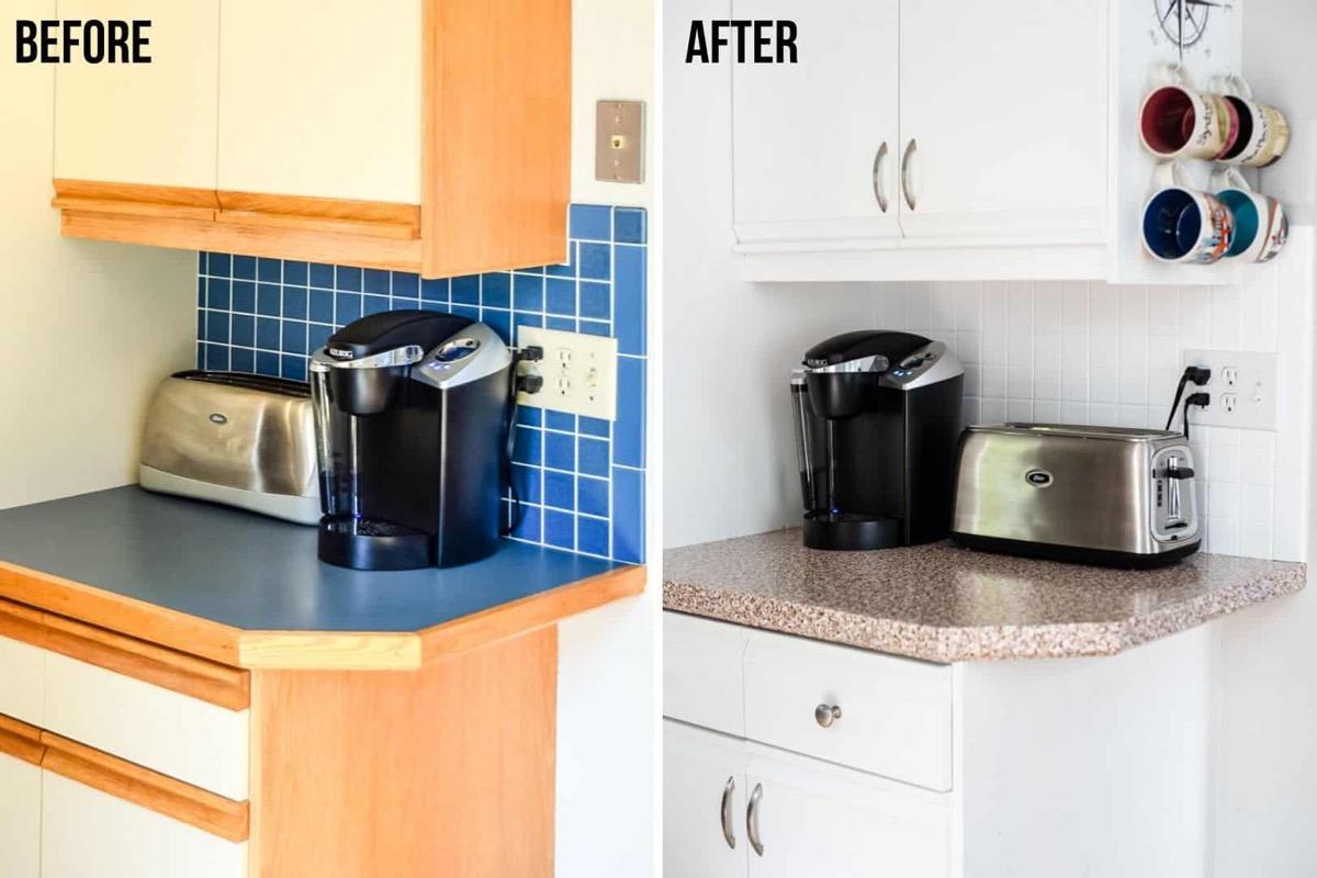 before and after kitchen backsplash