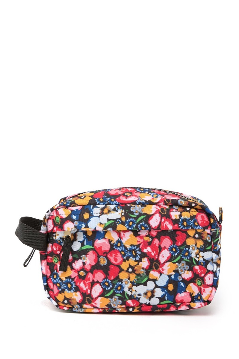Colorful makeup case on white background