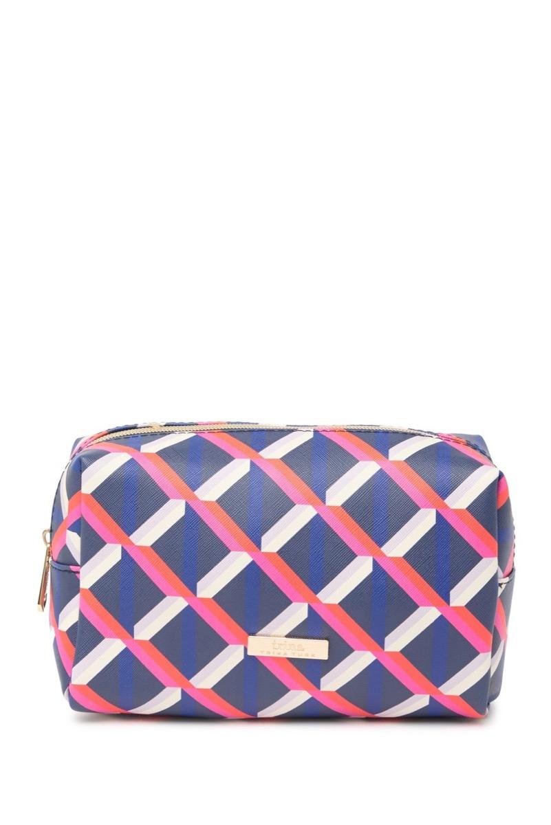 Blue pink white geometric makeup case