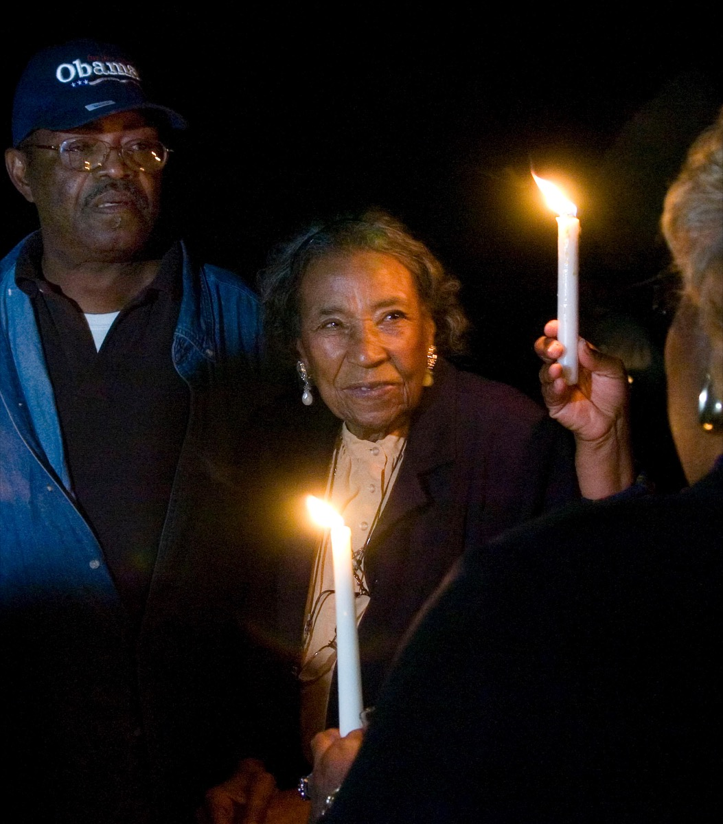 Civil Rights veteran foot soldier Amelia Boynton Robinson, 97, participates in a candle light vigil at the foot of the Edmund Pettus Bridge before the election returns in Selma, Alabama, USA, on Tuesday, November 4