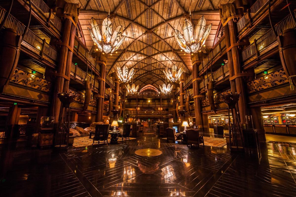 the inside of disney animal kingdom lodge during nighttime