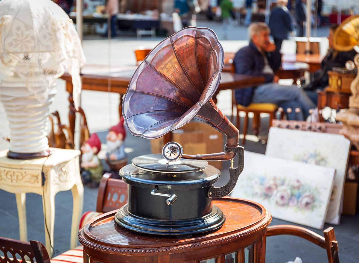 vintage record player at an outdoor antique market
