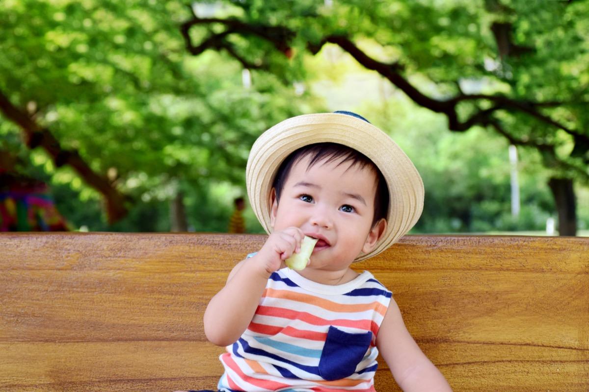 asian baby boy in hat