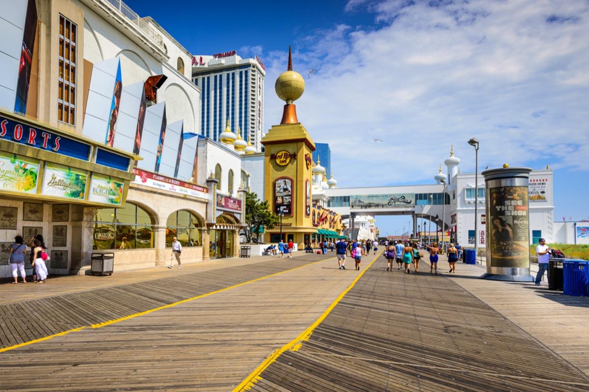 tourists walking on atlantic city boardwalk