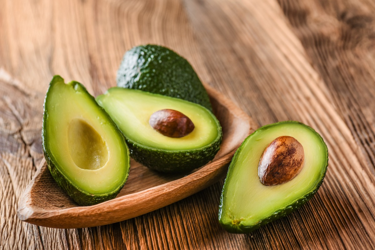 Half and whole avocados