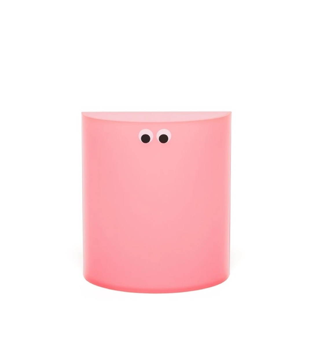pink pencil cup with googly eyes