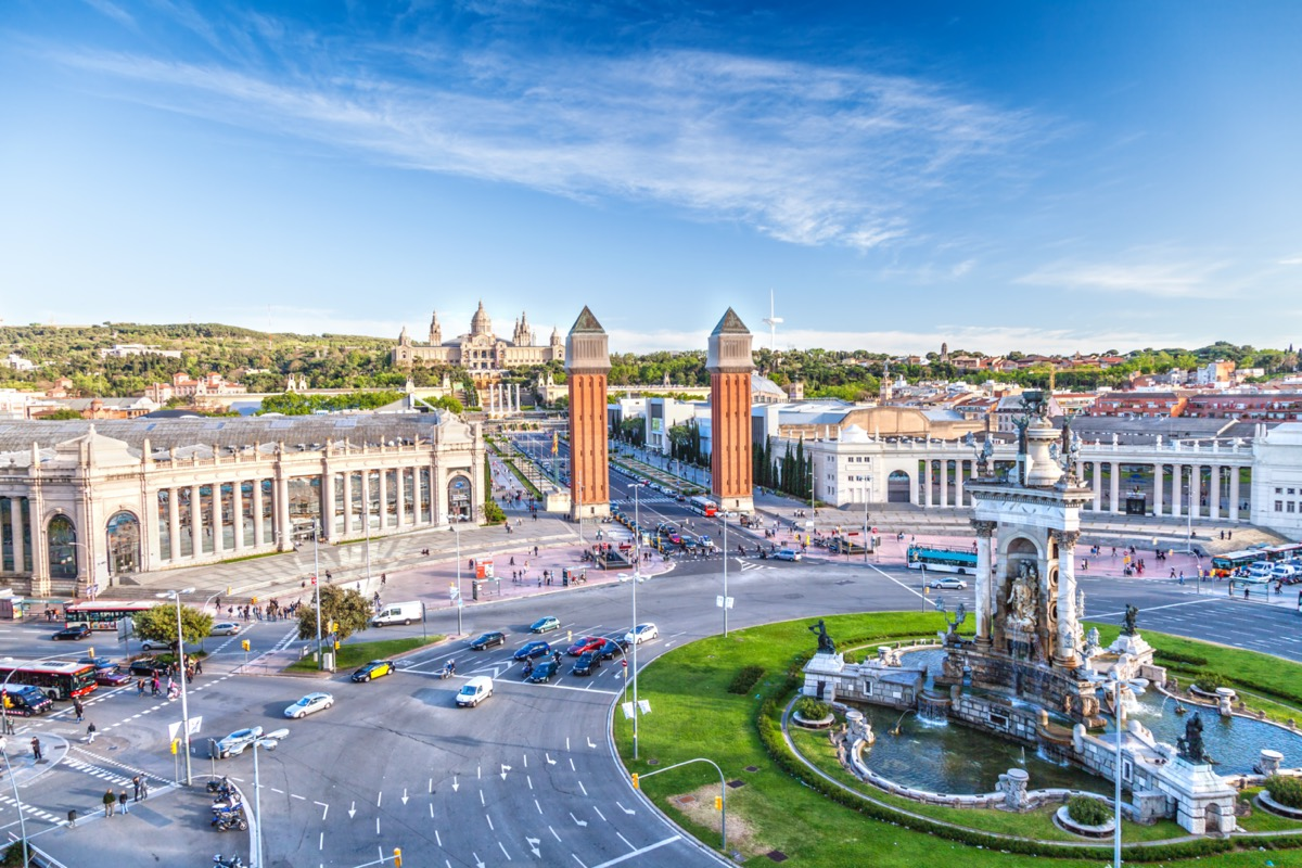 overview of the center of barcelona spain