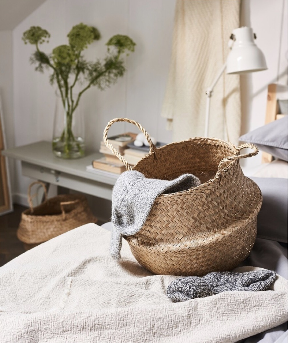 woven storage basket on bed