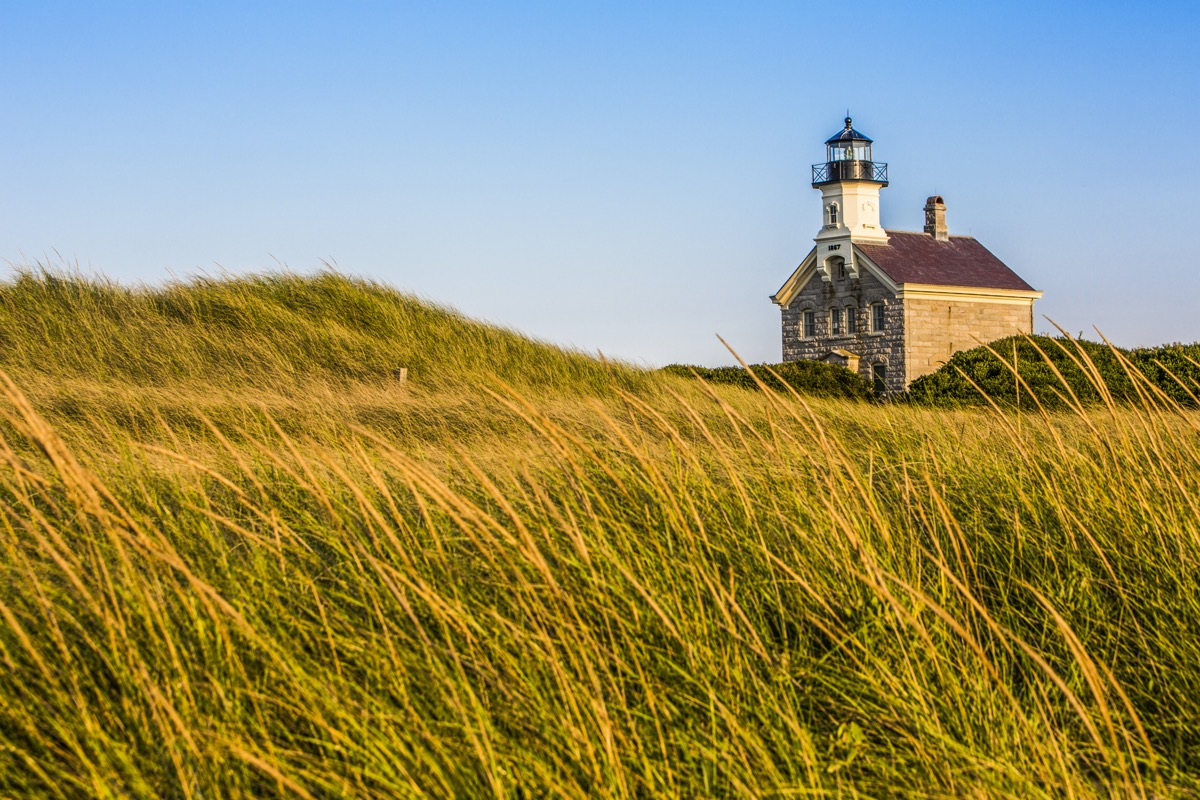 Block Island's North Lighthouse in the afternoon sun