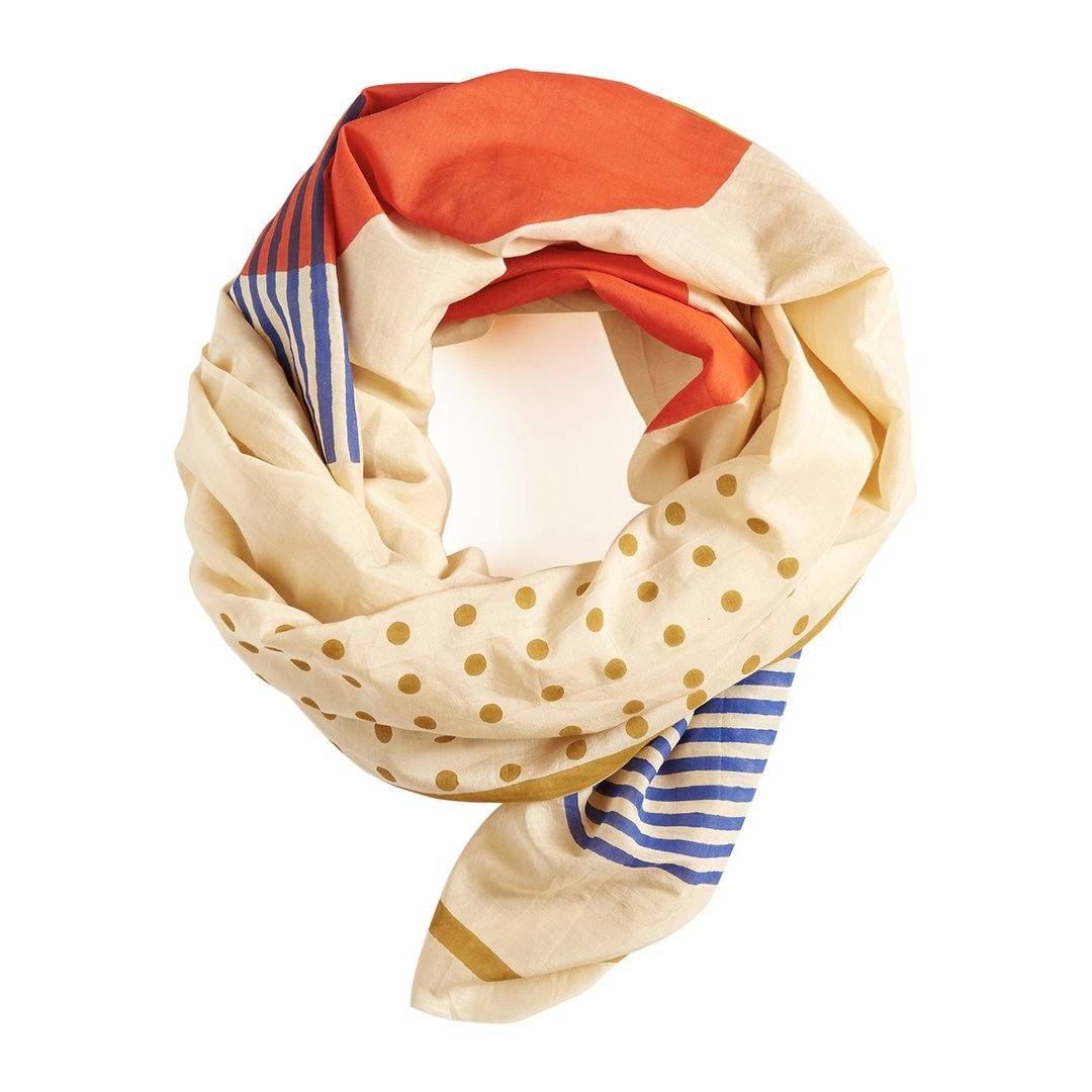 Block shop scarf with gold dots and blue stripes