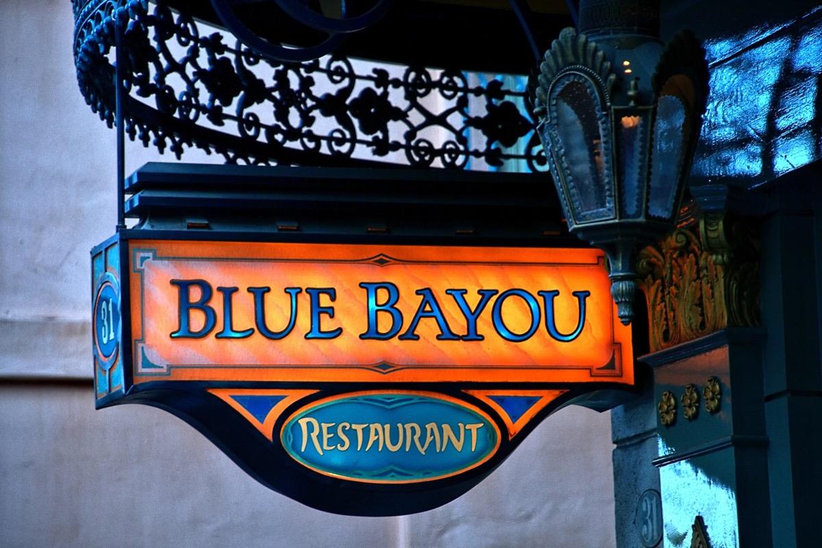 blue bayou restaurant sign in disneyland