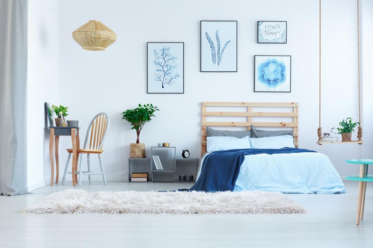 Blue living room interior