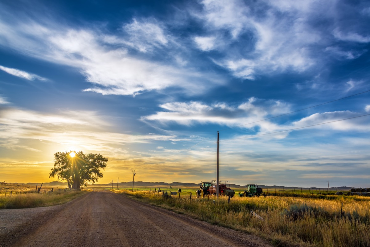 sunset in the rural town of buffalo wyoming