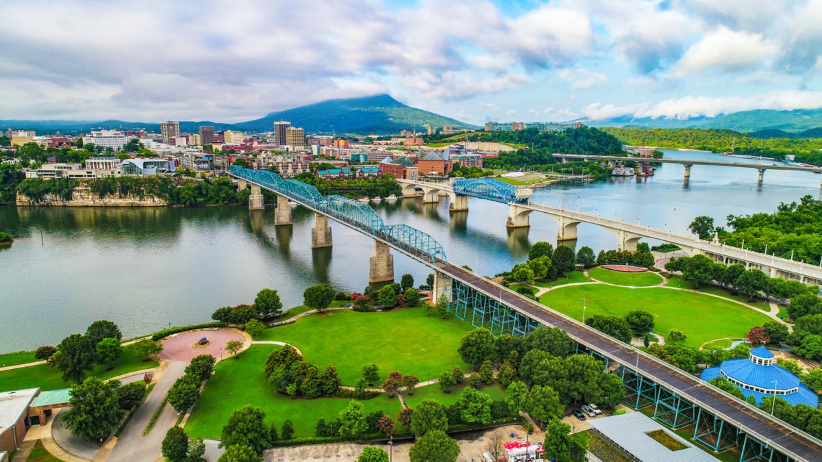 overview from a drone of chattanooga tn