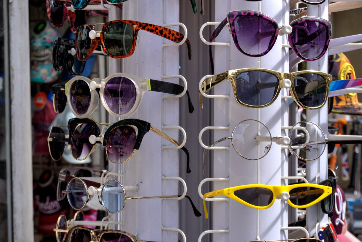 A display of cheap sunglasses