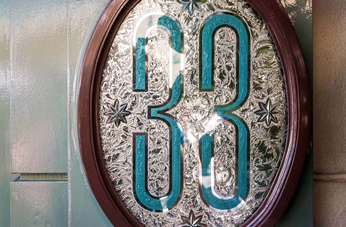 the only adornment marking the club 33 entrance is this sign just outside the door,